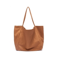 China 34cm brown quality canvas single shoulder Reusable Shopping Bags factory