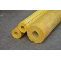 China High Temp Glass Wool Pipe Insulation , Yellow Glasswool Pipe Cover on sale