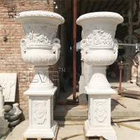 China Large Stone Planter Natural Marble White Flowerpots By Hand Carved factory