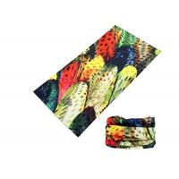 Buy cheap Polyester Soft Fadeless UV Buff Headwear Seamless Breathable With Feather Logo from Wholesalers