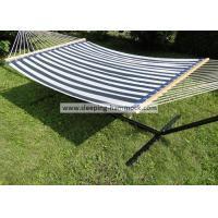 Buy cheap 13ft Sturdy Patio Poolside Hammocks With Stand Textilene Navy Stripe , Poolside Double Hammock from Wholesalers
