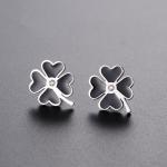 Buy cheap Custom fashion four leaf clover jewelry earrings stainless steel metal lucky you enamel stud earrings from Wholesalers