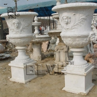 Buy cheap white marble flowerpots planters white natural stone by hand carved from wholesalers