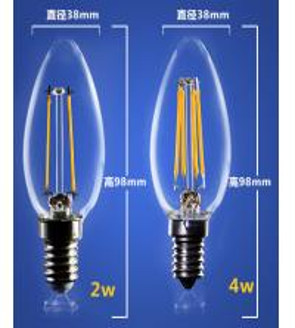China 4W 6W C35 E14 Edison COG lamp LED Filament Bulb Candelabra Light replace traditional bulbs factory
