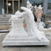 China Marble Tombstone White Cemetery Crying Angel  Statue Stone hand carved factory