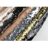 Buy cheap Black / Sliver Double Sided Colorful Sequin Fabric Reversible Two Tone Satin from wholesalers