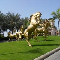Buy cheap Decorative giant copper golden fat horse statue, bronze horse statue from wholesalers