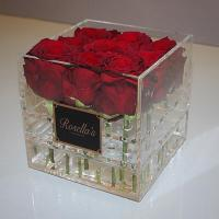 China best selling plexiglass display box with cover royal rose acryl clear flower packaging box with logo factory