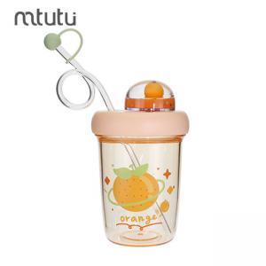 China Orange 390ml Plastic Straw Water Bottle For Children factory