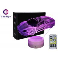China Car 3D LED Illusion Lamps 7 Colors Boys Bedrooms 3 AA Battery With Timer on sale