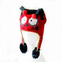 Cheap knitting acrylic outdoor warm animal pattern red hat with hand's sensitive squeezer ballon hats for kids