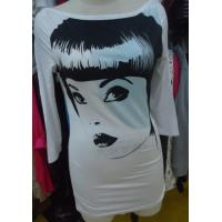 Buy cheap Ladies Three Quarter Length Sleeve T Shirts , White Stylish Long Tops Custom Size from Wholesalers