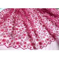 Buy cheap Colored Handmade 3D Flower Lace Fabric , Scalloped Embroidered Mesh Lace Fabric from Wholesalers