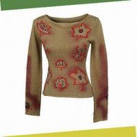 Buy cheap Women's Sweater with Hand-embroidery and Beading, Made of 70% Acrylic and 30% Wool from Wholesalers