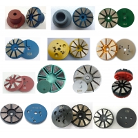 China 10 Segments fan shape diamond grinding wheel with magnetic or velcro backing factory