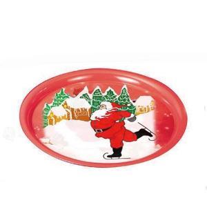 China Round Christmas Print Serving Tin Trays factory