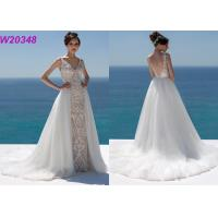Buy cheap Lace And Sequinned V Neckline Mermaid Style Wedding Dress Detachable Over Skirt from Wholesalers