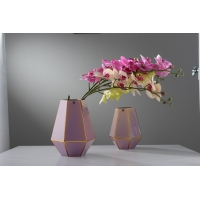 China Handmade Glass Vase With Golden Edge Individual Packing factory