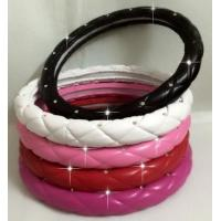 Buy cheap Crystal Crown covered Leather Car Steering Wheel Cover Diamond Steering Covers from wholesalers