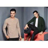 China British Style Made To Measure Sweaters , Cashmere Cardigan Sweater With Rib Hem on sale
