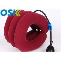 China Medical Cervical Support Brace Flannel Cloth Material With Rubber Tube Steel Valve factory