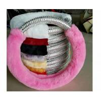Buy cheap Pink Fuzzy Steering Wheel Cover With Silver Plastic Diamond Customized Size from wholesalers