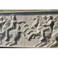 China White marble relief carved by hand/ War horse stone relief factory