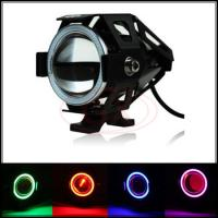 China 3000LM 125W 12V 80V Motorcycle LED Light Red Demon Eye U7 CREE LED Fog Spot Light on sale
