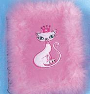 Plush spiral note book with enbroider cat