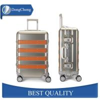 China Deep Drawn Aluminum Cabin Luggage , Aluminum Travel Suitcase With Leather Strips factory
