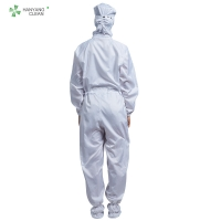 China ESD antistatic sterilized lint-free hooded coverall white color with conductive fiber for class 1000 cleanroom factory