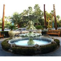 China Garden stone fountain with pool, outdoor green marble fountain , decorative fountain factory