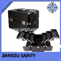 China Whole black PVC six trays china aluminum metal makeup case on sale