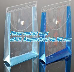 China zippered vinyl portable pvc cosmetic, vinyl pack bags, pvc button bags, PVC promotion bag factory