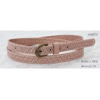 China Old Brass Buckle Pink PU Ladies Stretch Belts With Punching Patterns factory