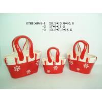 Buy cheap Decorative Ceramic Flower Pots Bag Shaped Xmas With Handle 20.3 X 10.5 X 20.8 Cm from Wholesalers