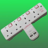 China 4 way T shape wall socket with surge protecto CE BS factory