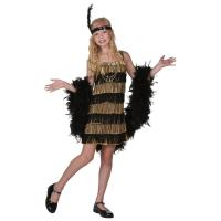 Buy cheap 20s Costumes Teen Girl Halloween Costumes Child Gold and Black Fringe Flapper Costume from Wholesalers