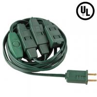 China UL Christmas Tree cord including 3 sockets and 1 switch factory