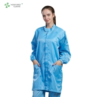 China Dust-free antistatic ESD blue labcoat gown suitable for cleanroom or workshop of Parmaceutical indstry factory