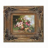 China PU Painting/Mirror Frame, with Hand Carving Floral Molding on sale
