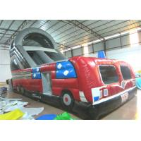 Closed inflatable bus standard slide hot fire truck inflatable dry slide fire fighting truck inflatable slide