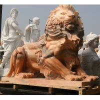 China Nature Stone carving lions statue pink marble animal sculpture,stone carving supplier factory