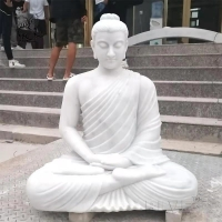 China White Marble Sitting Buddha Statue Life Size Natural Stone Garden Sculpture factory