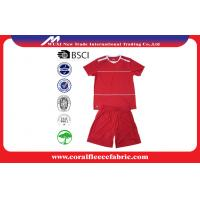 China Red Short Sleeve Sport Suits Custom Youth Soccer Jerseys / Basketball Team Uniforms factory