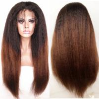 China Brazilian virgin hair lace front wigs T1b/30 Ombre color Italian yaki kinky straight wigs with baby hair factory