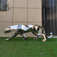 China Polish Modern Life Size Stainless Steel Animal Sculpture Geometric  Leopard Statue factory