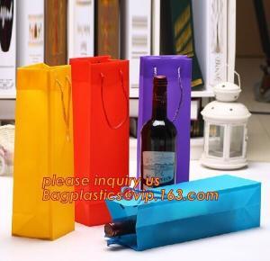 China Ribbon Handle eco friendly Plastic PP Package Bag for Flowers Bouquet,Semitransparent PVC Plastic Tote Bag Environmental factory