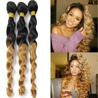 China Ombre Hair Extension Real Human Hair Loose Wave Bundle Black to Blonde 2 Tone Color Grade 7A Virgin Brazilian Hair factory