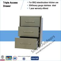 BBQ island component stainless steel built-in triple access drawer